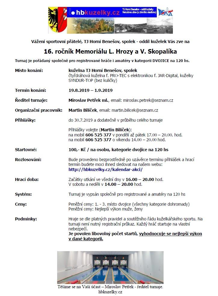 Rozpis Memoriálu v H. Benešově